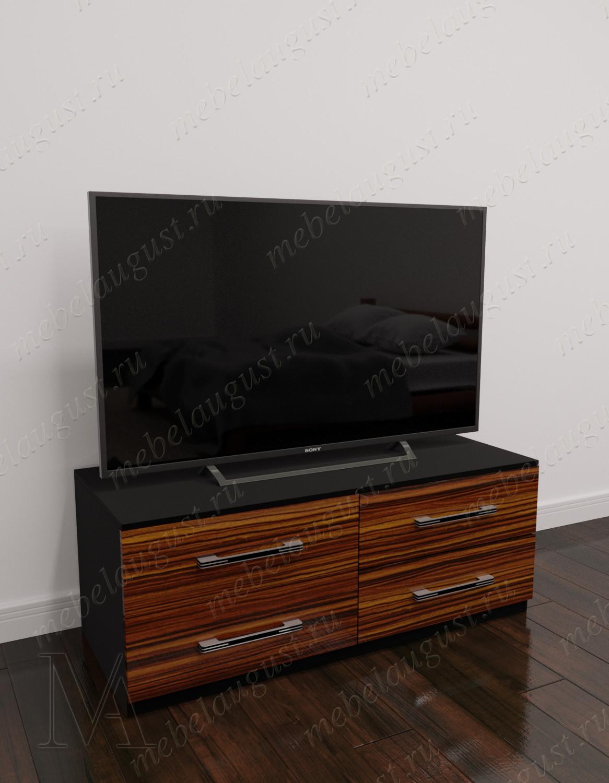 Глянцевый маленький комод с четырьмя выдвижными ящиками с полкой для телевизора