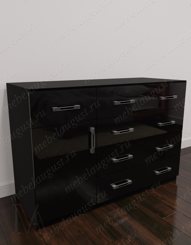 Черный глянцевый комод для белья для спальни с 5-ю выдвижными ящиками