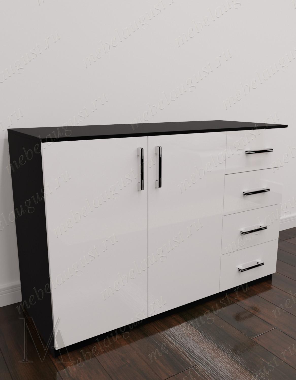 Черно-белый глянцевый комод для белья с 4-мя выдвижными ящиками с дверками и ящиками
