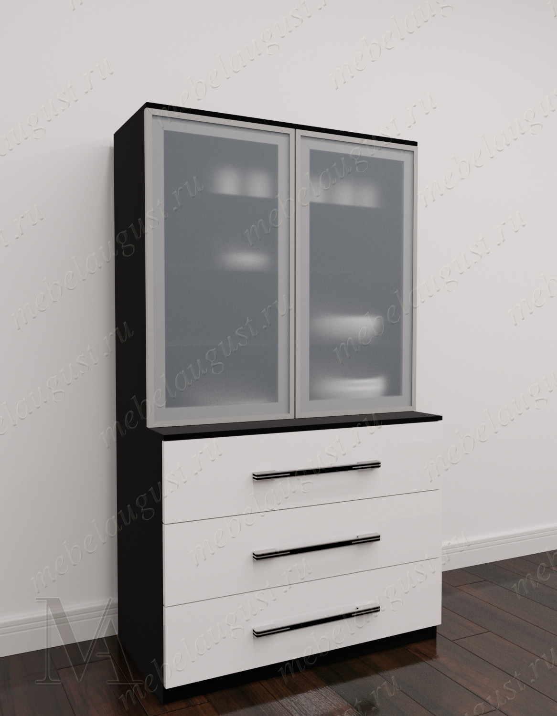 Высокий комод в гостиную с тремя выдвижными ящиками цвета черно-белый глянец