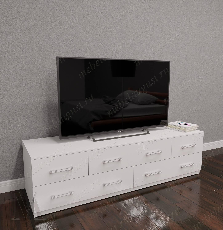 Длинный комод в зал с полкой для телевизора цвета белый глянец