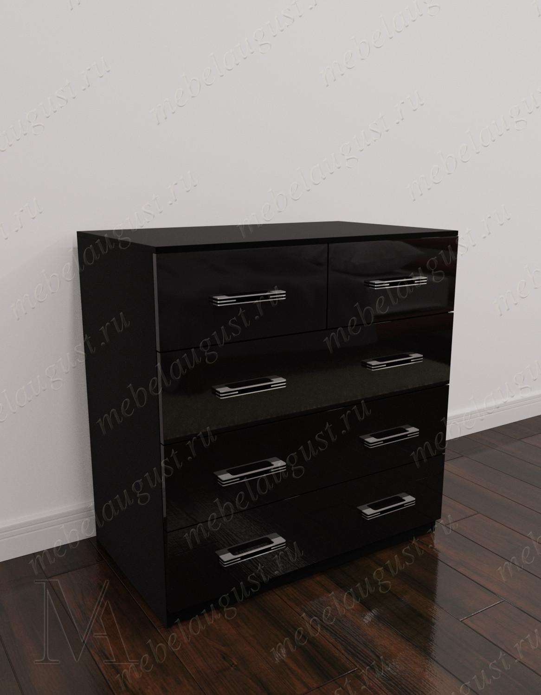 Малогабаритный бельевой комод с пятью ящиками цвета черный глянец