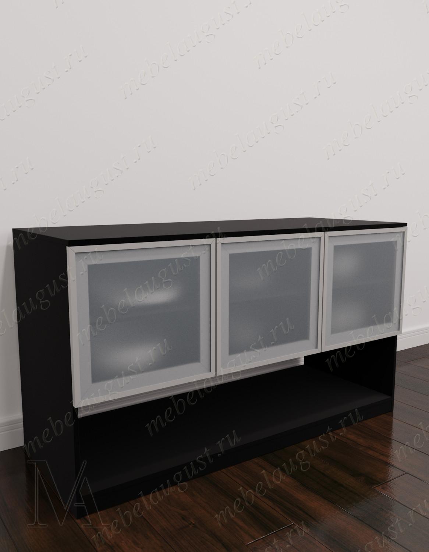 Комод с полками в зал цвета черно-белый глянец