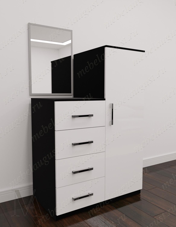 Комод в прихожую с зеркалом с дверками и ящиками цвета черно-белый глянец
