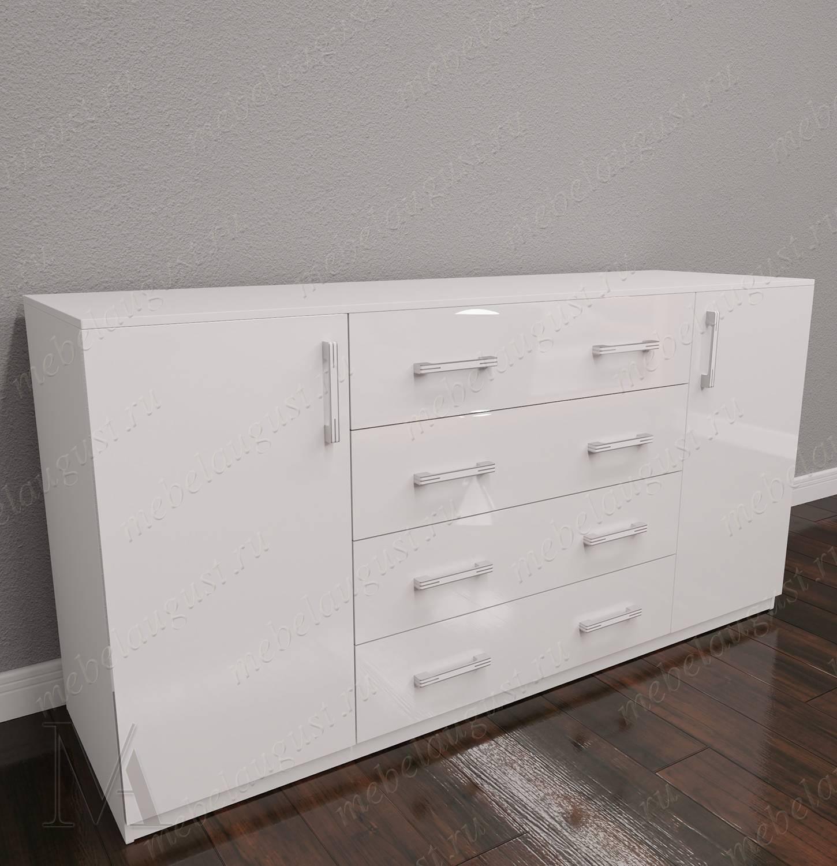 Комод с 4-мя ящиками в спальню с дверками и ящиками цвета белый глянец
