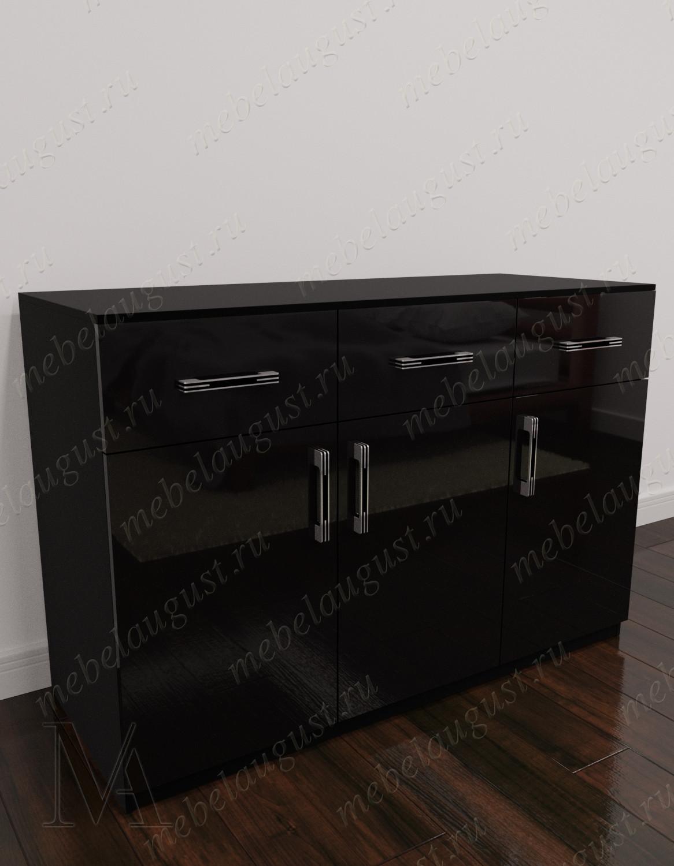 Комод в кабинет с тремя ящиками с дверками и ящиками цвета черный глянец