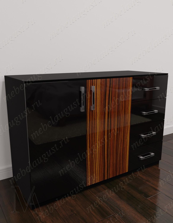 Комод для белья в спальню с дверками и ящиками цвета макасар