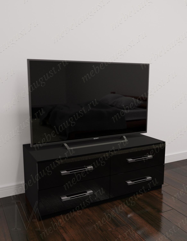 Черный глянецевый малогабаритный комод под тв с четырьмя выдвижными ящиками
