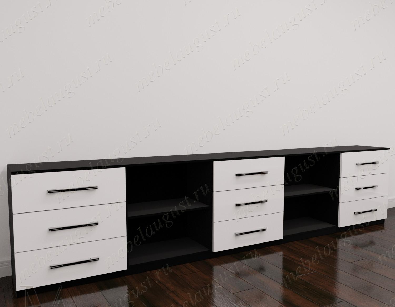 Длинный комод с полками в кабинет цвета черно-белый глянец