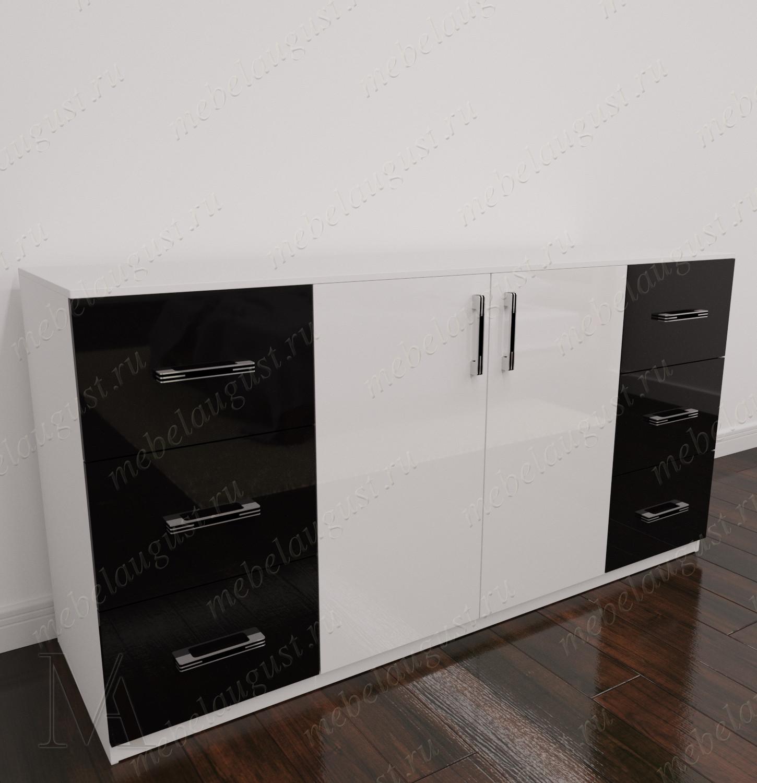 Черно-белый глянцевый комод для белья с шестью ящиками с дверками и ящиками