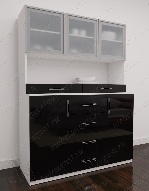 Комод сервант в зал с полками для посуды цвета черно-белый глянец