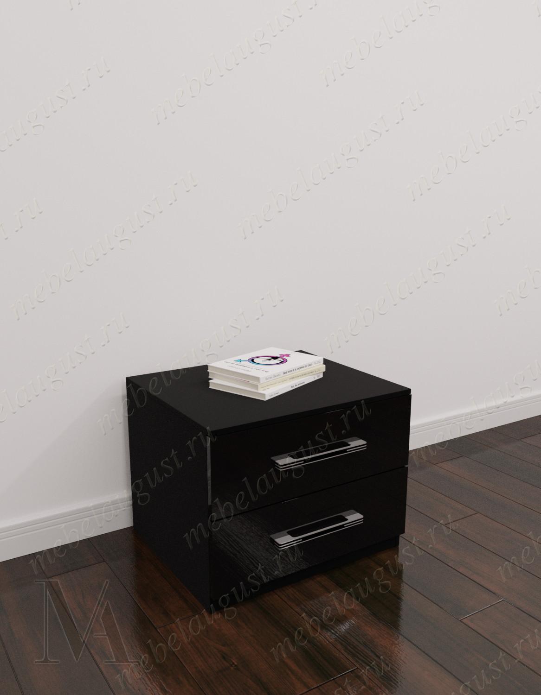 Черный глянцевый маленький комод с двумя выдвижными ящиками в спальню