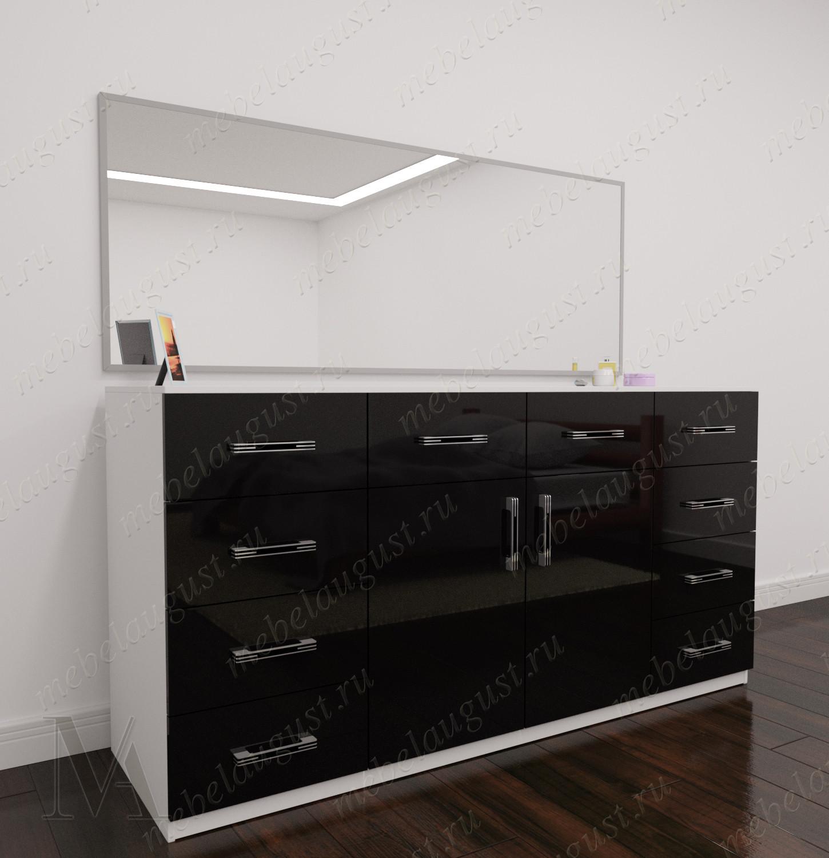 Зеркальный бельевой комод для спальни цвета черно-белый глянец