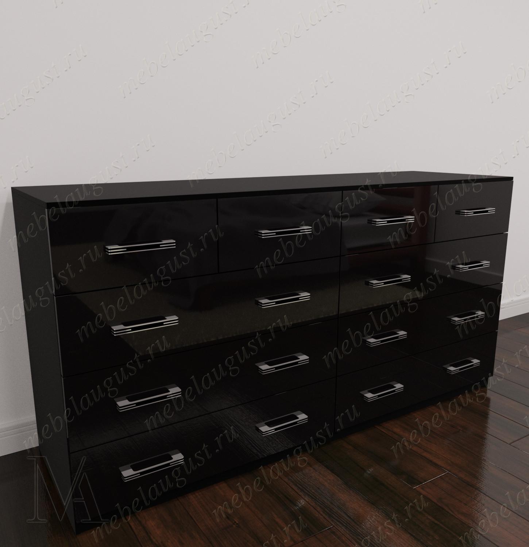 Большой комод для белья в спальню цвета черный глянец