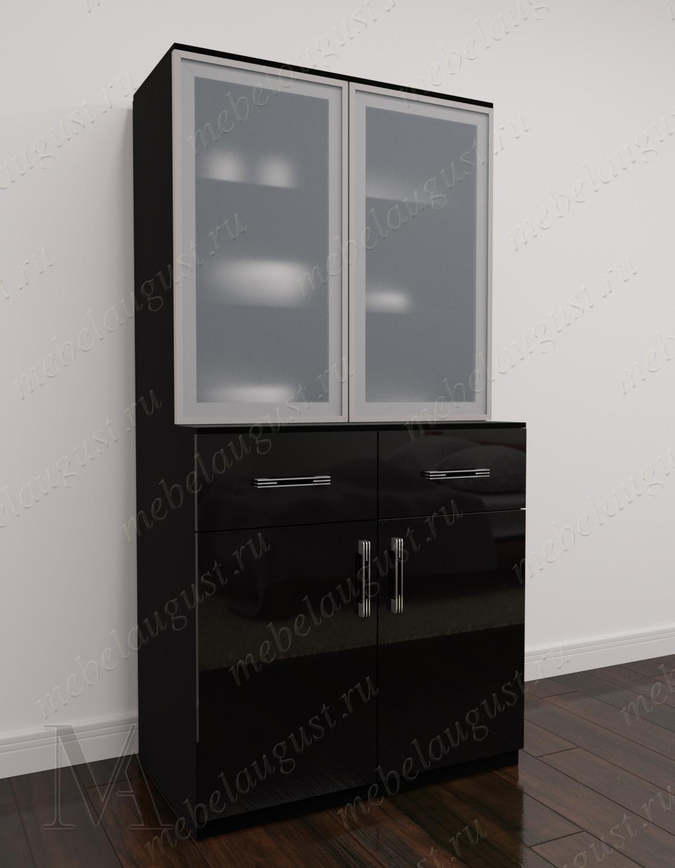 Высокий комод витрина с полками для посуды цвета черный глянец