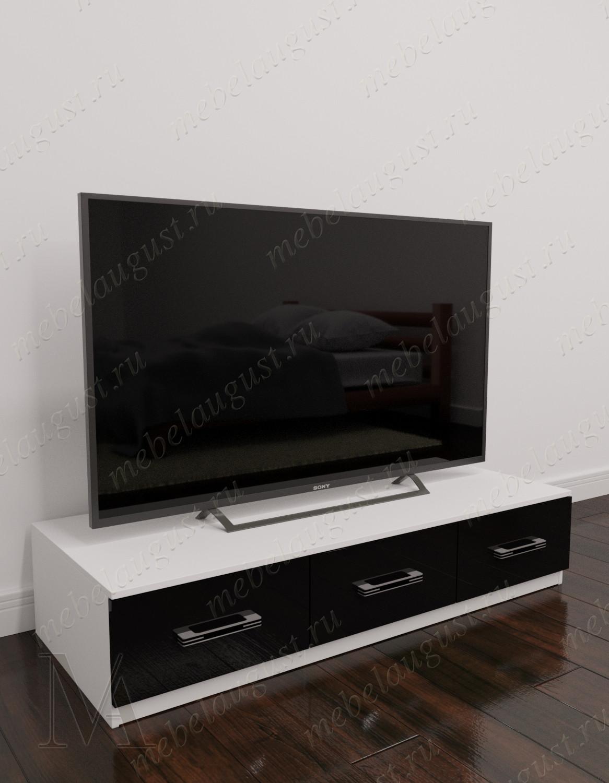 Черно-белый глянцевый комод в кабинет под телевизор с тремя выдвижными ящиками
