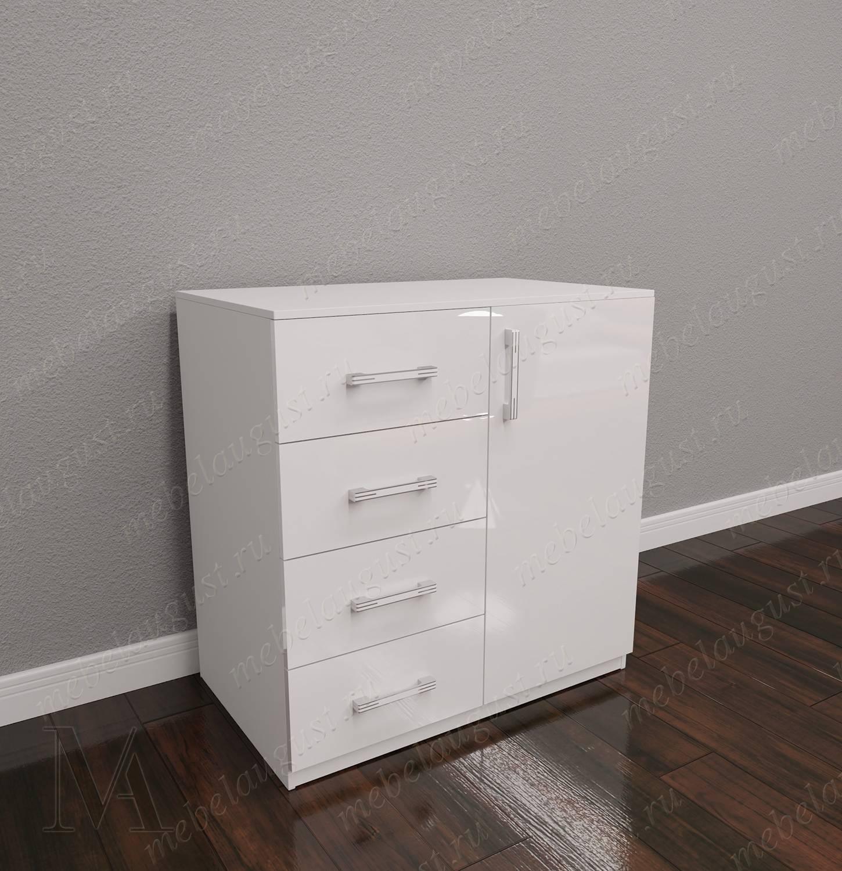 Белый глянцевый малогабаритный комод для спальни с 4-мя ящиками