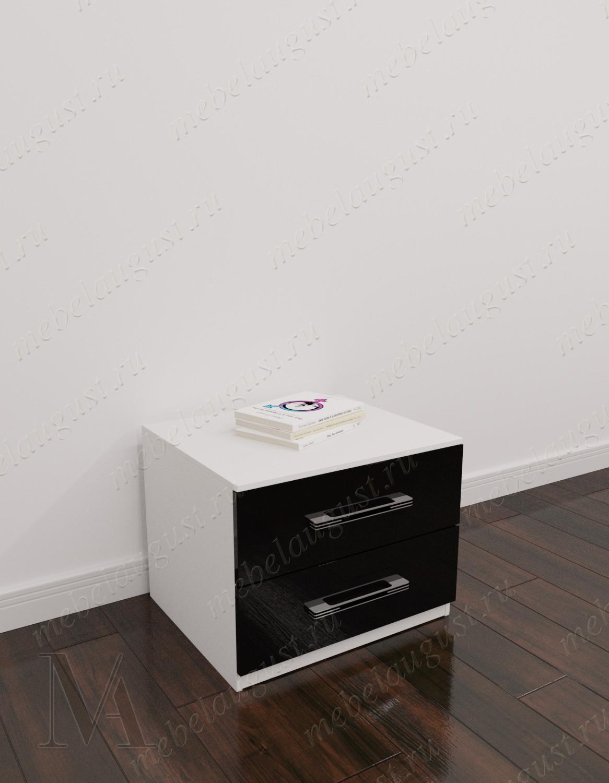 Черно-белый глянецевый малогабаритный комод с двумя выдвижными ящиками в спальню