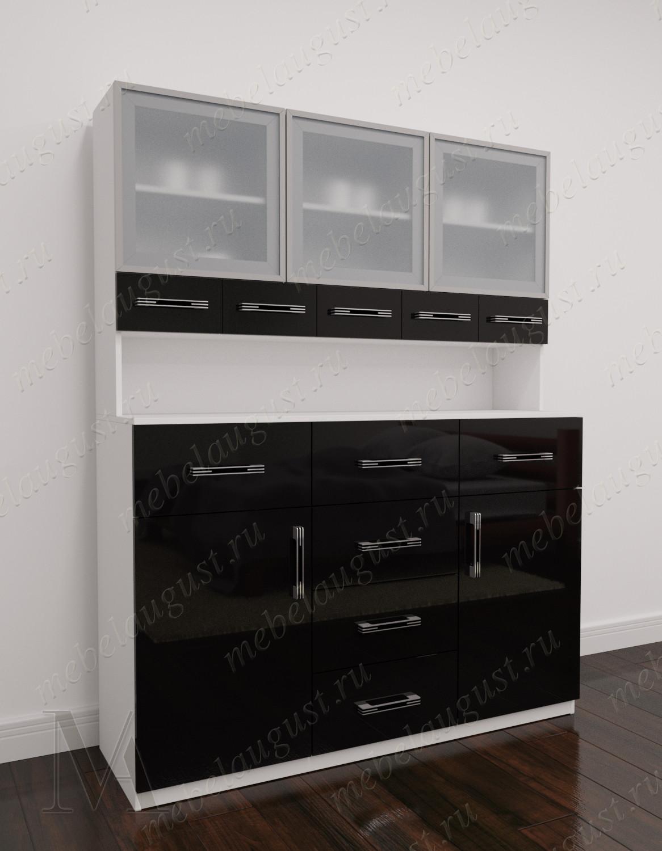 Черно-белый глянцевый большой комод в кабинет с полками для посуды