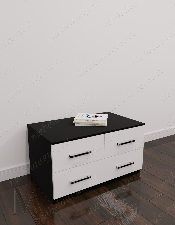 Маленький комод с четырьмя ящиками в спальню цвета черно-белый глянец