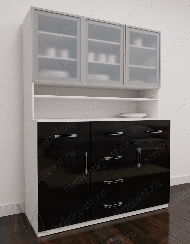 Черно-белый глянецевый комод сервант в зал с шестью ящиками