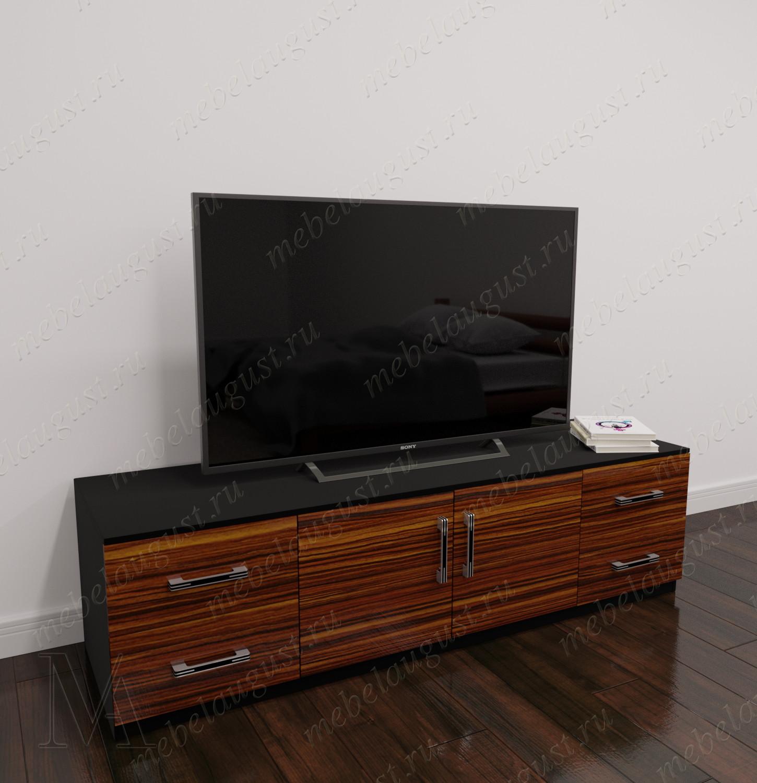 Невысокий комод с четырьмя выдвижными ящиками с полкой под телевизор цвета макасар