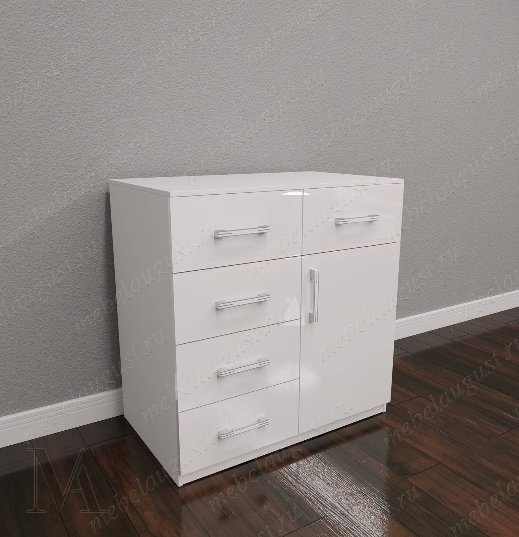 Белый глянцевый мини комод с пятью выдвижными ящиками с дверками и ящиками
