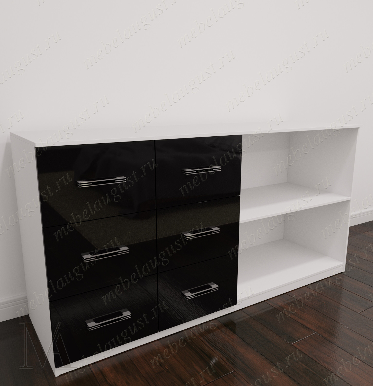 Бельевой комод с полками для спальни цвета черно-белый глянец