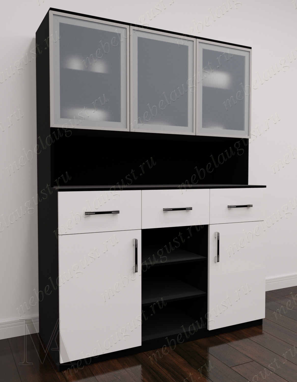 Большой комод с полками в гостиную цвета черно-белый глянец