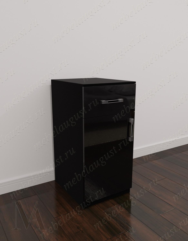Комод для спальни с 1-м ящиком с местом для обуви цвета черный глянец