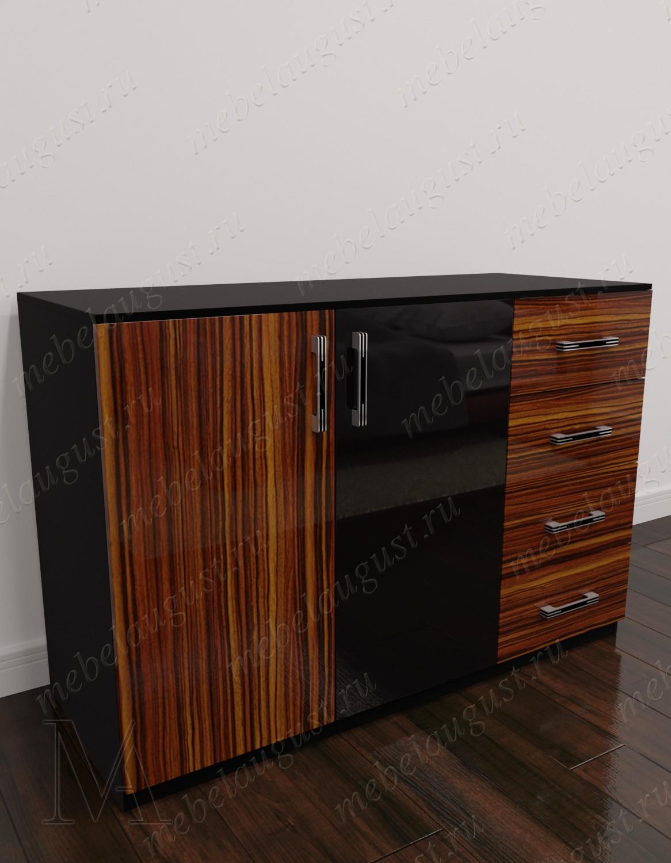 Бельевой комод с четырьмя ящиками с дверками и ящиками