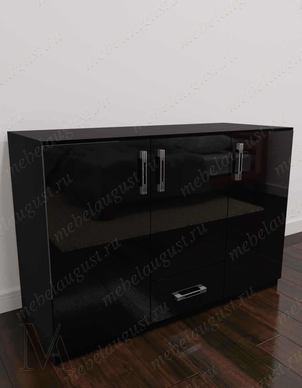Бельевой комод для спальни с выдвижным ящиком цвета черный глянец