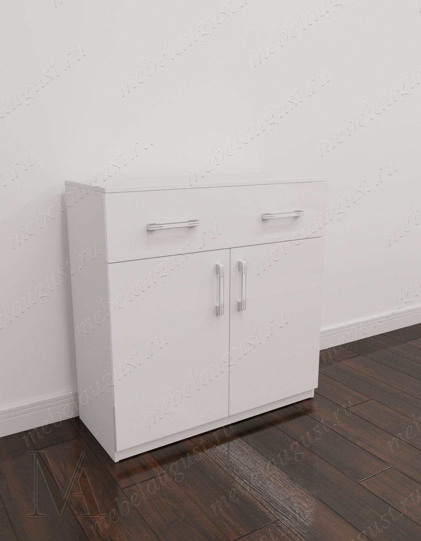 Комод для спальни с двумя ящиками с местом для обуви цвета белый глянец