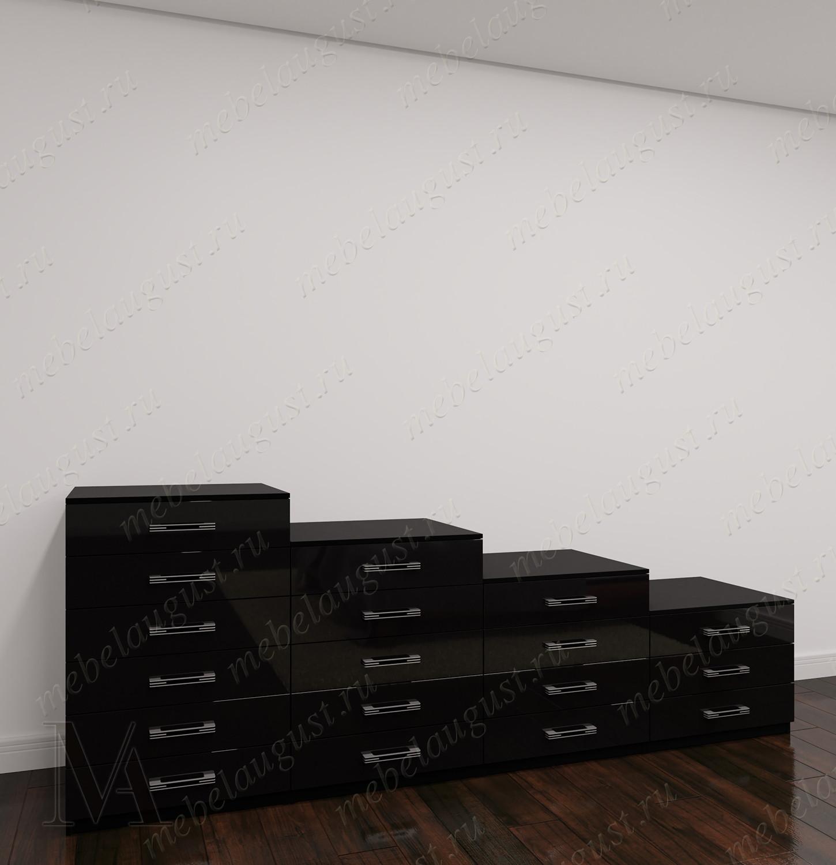 Большой комод для белья в спальню цвета черно-белый глянец