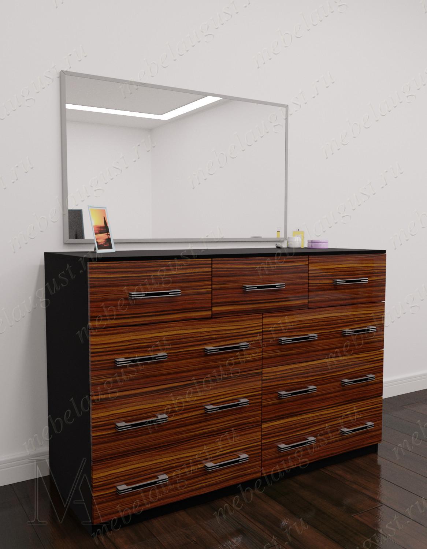 Широкий зеркальный комод в спальню цвета макасар