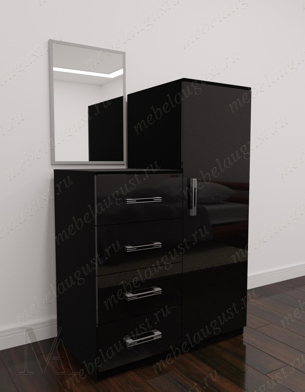 Черный глянцевый высокий зеркальный комод с четырьмя выдвижными ящиками
