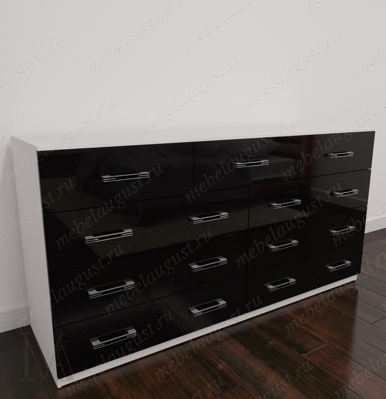 Черно-белый глянцевый широкий комод для белья в спальню
