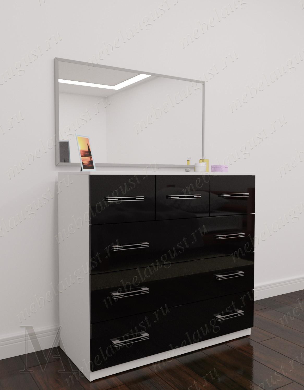 Черно-белый глянецевый зеркальный бельевой комод для спальни