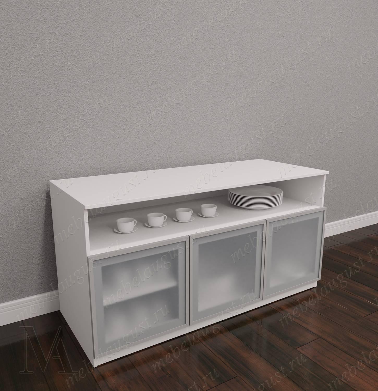 Комод с полками в кабинет с полками для посуды цвета белый глянец