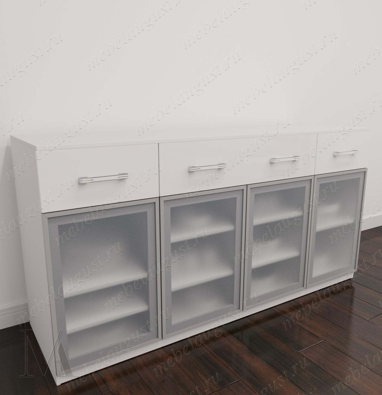Большой комод сервант с 4-мя выдвижными ящиками цвета белый глянец