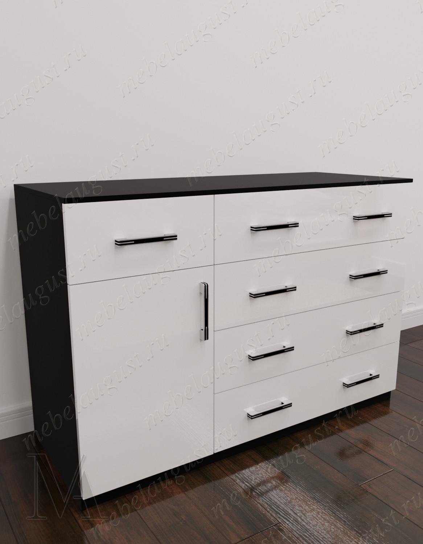 Комод для белья для спальни с 5-ю выдвижными ящиками цвета черно-белый глянец