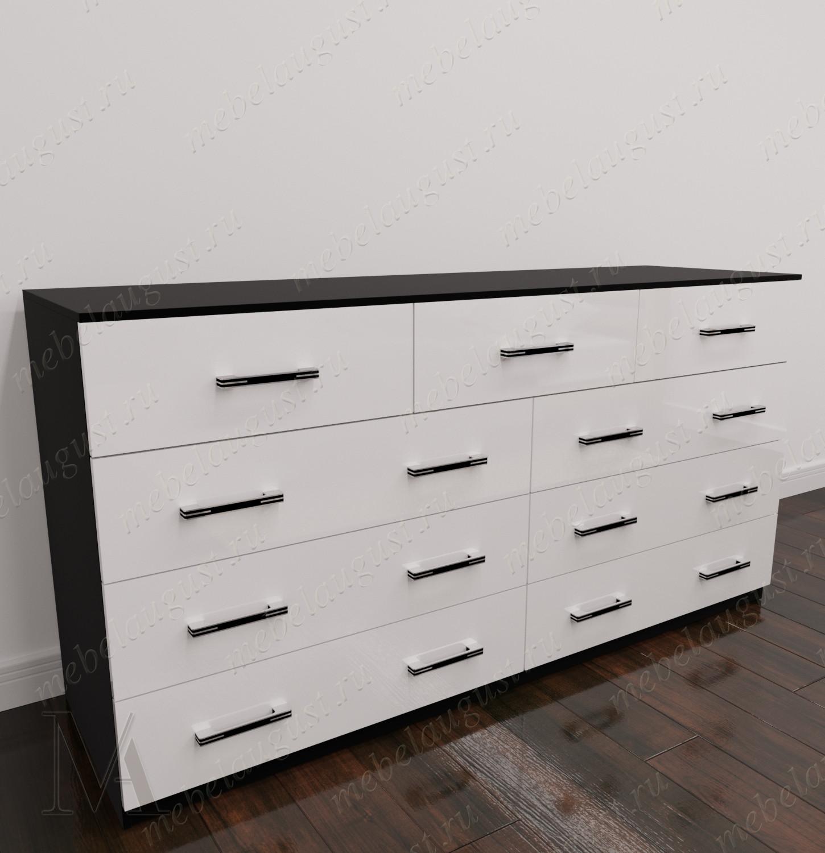 Черно-белый глянцевый большой бельевой комод для спальни