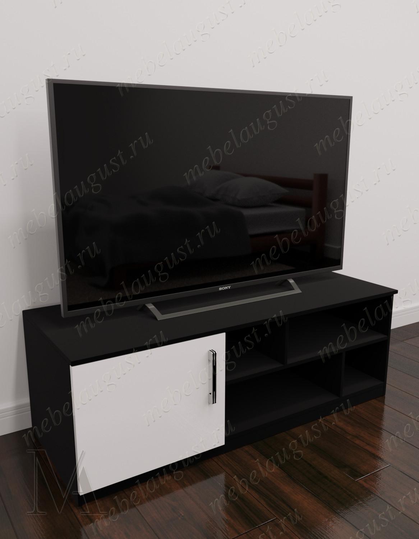 Черно-белый глянцевый маленький комод в кабинет с полкой под телевизор