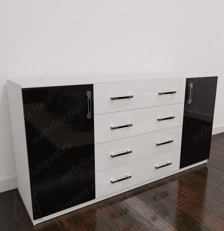 Длинный комод в спальню с дверками и ящиками цвета черно-белый глянец