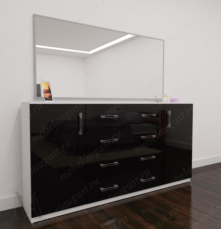 Широкий комод с зеркальной дверью в спальню