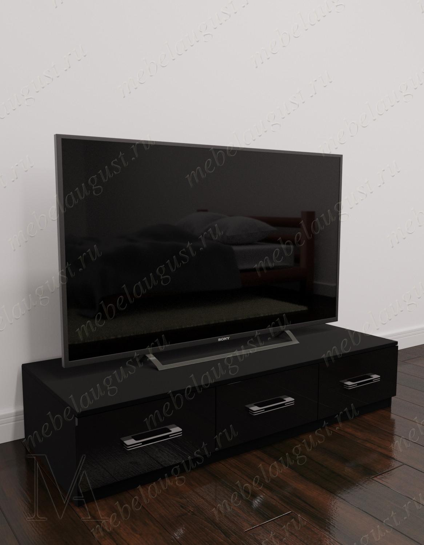 Черный глянцевый комод в гостиную под телевизор с 3-мя выдвижными ящиками