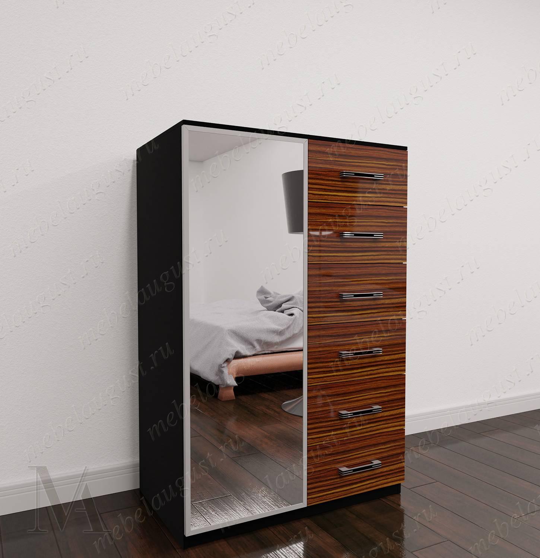 Зеркальный комод в спальню с дверками и ящиками цвета макасар