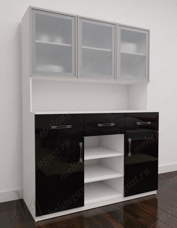 Комод с полками с тремя ящиками с полками для посуды цвета черно-белый глянец