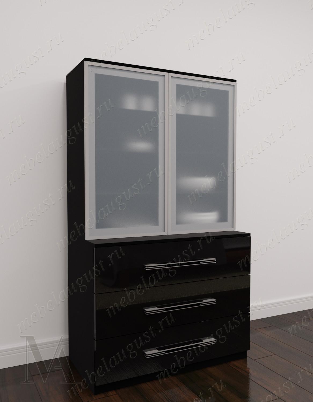 Черный глянцевый комод витрина в зал с тремя ящиками