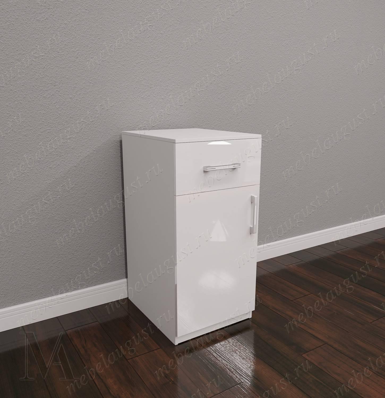 Мини комод с местом для обуви в спальню цвета белый глянец